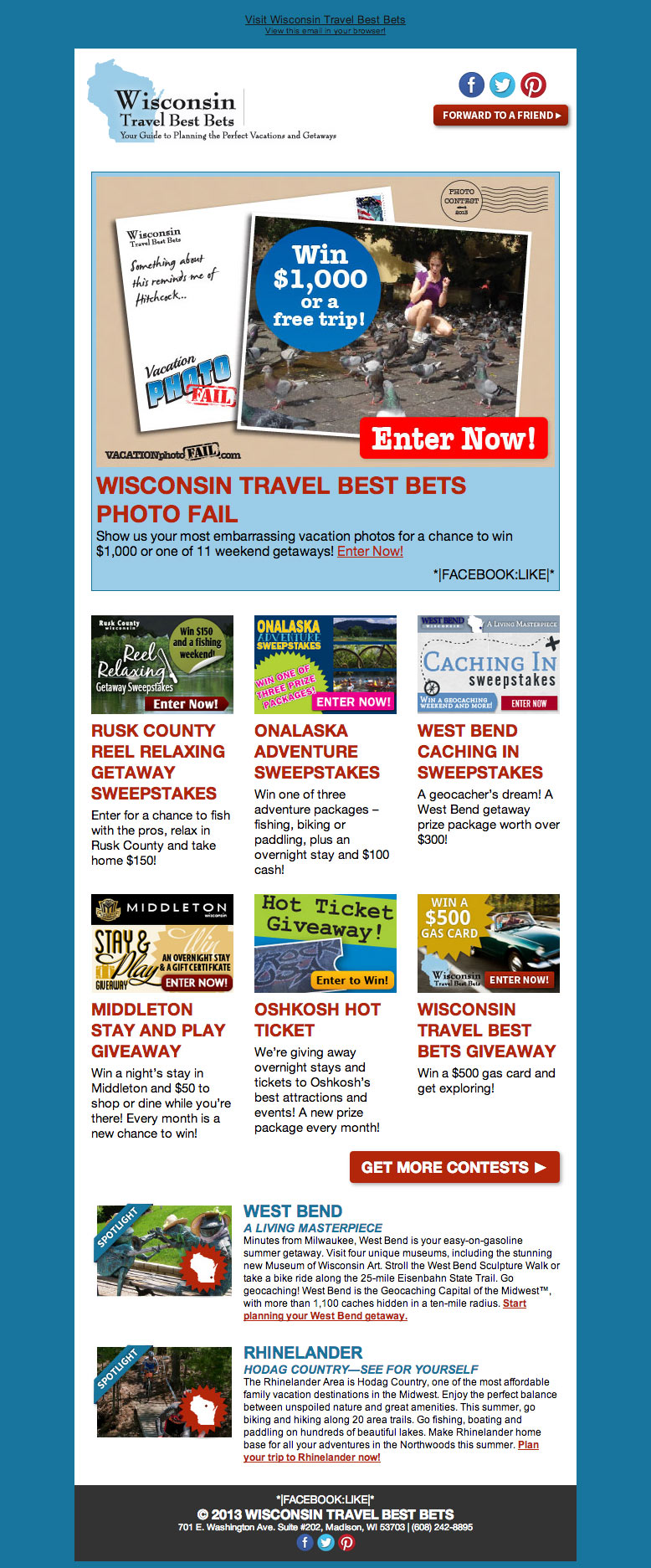 Wisconsin Travel Best Bets Contests Enewsletter